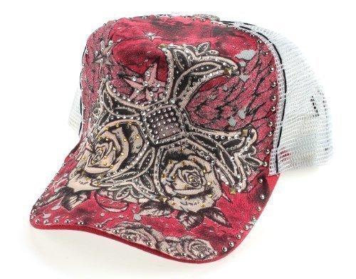 Strass tatuaggio in rete a forma di croce con Rose rosso bianco con tanti Strass (Croce Cap Hat)
