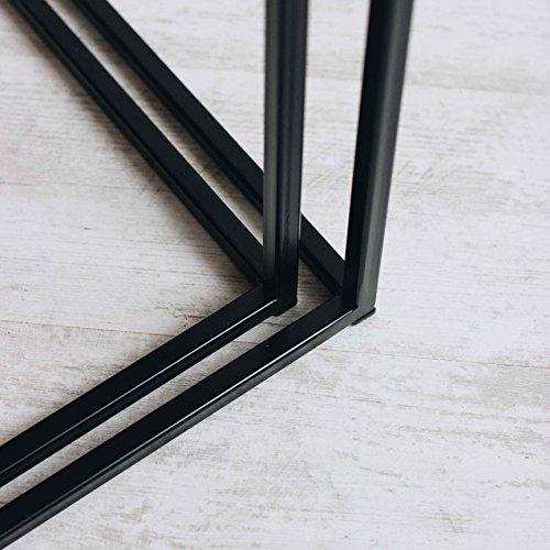 Original BestLoft®2er-Set Couchtisch (MSD) Eiche Metall Beistelltisch Industiedesign loft vintage Sofatisch massiv Holz (Eiche geräuchert) - 4