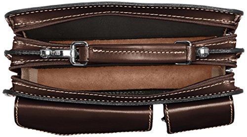 CTM Borsa Uomo da Lavoro Piccola Cartella Portadocumenti, 27x20x11cm, Vera Pelle 100% Made in Italy Moro