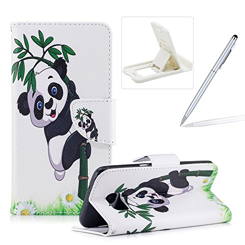 Leather Case for Samsung Galaxy S7,Flip Wallet Cover for Samsung Galaxy S7,Herzzer Stylish Cute Panda Pattern Magnetic Closure Purse Folio Smart Stand Cover with Card Cash Slot Soft TPU Inner Case for Samsung Galaxy S7 + 1 x Free White Cellphone Kickstand + 1 x Free Silver Stylus Pen