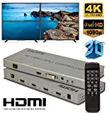 Microware 2x2 4K HDMI DVI Video Wall Switch Controller Splitter Adapter LCD TV Wall HDMI Video Processor 4 HDMI + Audio Output Connector for HDTV Display with RS232