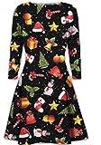 Damen der Frauen mit langen Ärmeln Olaf Santa Geschenke Glocken Lebkuchen-Weihnachtsweihnachts druckte Neuheit Ausgestelltes Swing-Kleid Top in Übergrößen (XXL 48-50, Holly Print)