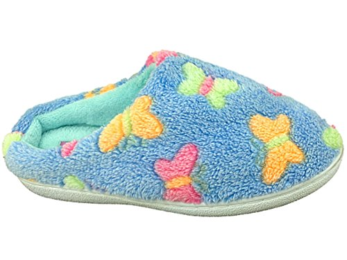 Pour Filles Et Femmes Polaire Battement Papillon Confortable Chaude Douce À Enfiler Chaussons Mules Chaussure Size 3-8 Bleu