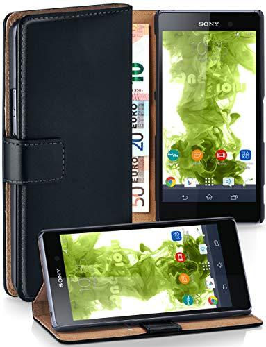moex® Booklet mit Flip Funktion [360 Grad Voll-Schutz] für Sony Xperia Z1 | Geldfach & Kartenfach + Stand-Funktion & Magnet-Verschluss, Schwarz