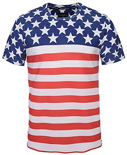 Pizoff Unisex Schmale Passform T Shirts mit 3D Sternenbanner usa flug Bunt Digital Print Muster und Seit reissverschluss Y1778-02-M (Jordan Flug Air)