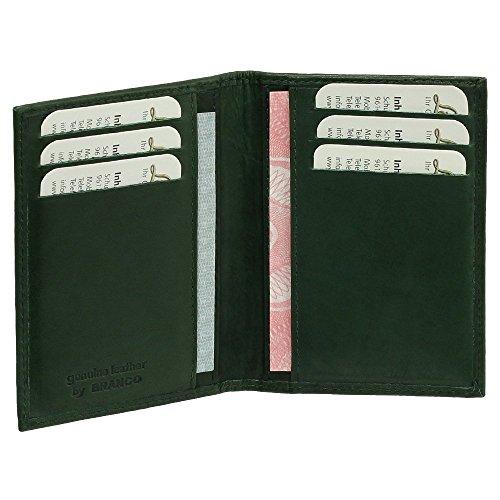 Preisvergleich Produktbild Luxus Leder Ausweisetui Ausweishülle Basic Dokumentenmappe Ausweismappe Ideal fürs Auto Farbe grün
