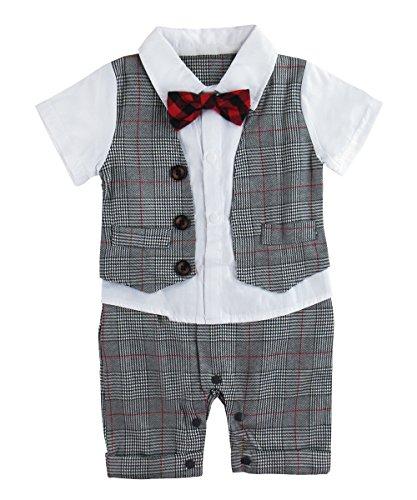 A&J DESIGN Säugling Jungs Formell Overall Smoking Kariertes Hemd Anzug (Grau-2, 12-18 Monate)