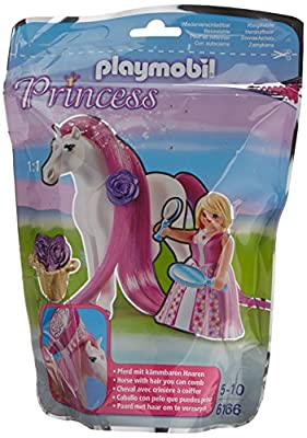 Playmobil - 6166 - Princesse Rose avec cheval coiffer