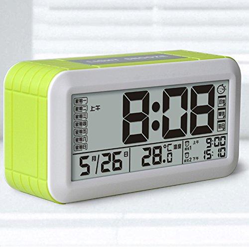 Preisvergleich Produktbild LXh.Cn Kinder Student Schlafzimmer Kreativ Elektronisch Kleine Wecker Mute Nachttisch Multifunktions Uhr Persönlichkeit Mode Einfache Uhr, Grün