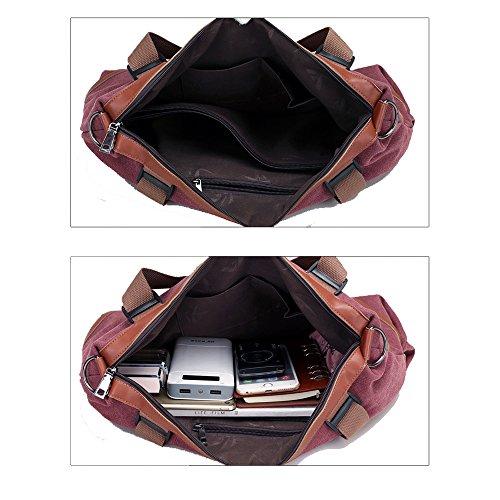 Uniqstore Damne Segeltuch Multi-Funktionen Größe Handtasche Schultertasche Umhängetasche Blau Braun