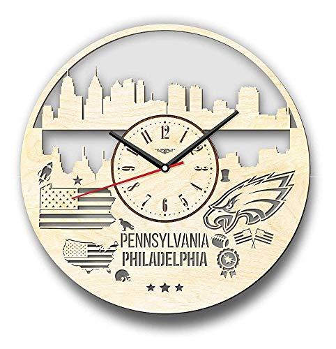 ZCLD Pennsylvanie Philadelphie Horloge Murale Horloge Murale Moderne - Horloge décorative de 12 Pouces / 30 cm, Utilisation Chambre Salon Enfants