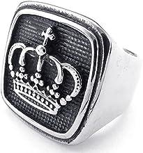 KONOV Joyería Anillo de hombre, Clásicos Gótico Sello, Acero inoxidable, Color negro plata (con bolsa de regalo)
