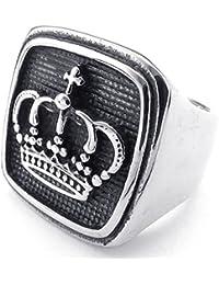 KONOV Joyería Anillo de hombre, Clásicos Gótico Corona Sello, Acero inoxidable, Color negro plata (con bolsa de regalo)