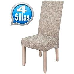 Pack 4 sillas para comedor o salon tapizadas en color arena y estructura de pino.