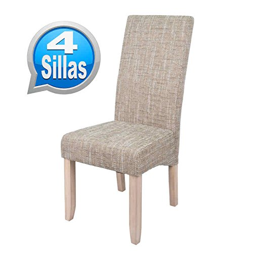 Pack 4 sillas para comedor o salon tapizadas en color arena y...