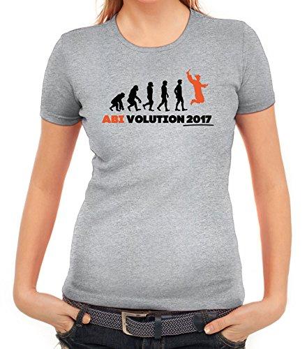 Abschluss Abitur Damen T-Shirt mit Abi Evolution 2017 von ShirtStreet Graumeliert