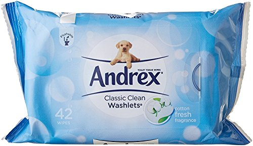Andrex Washlets Flushable toallitas de papel higiénico, Classic Clean