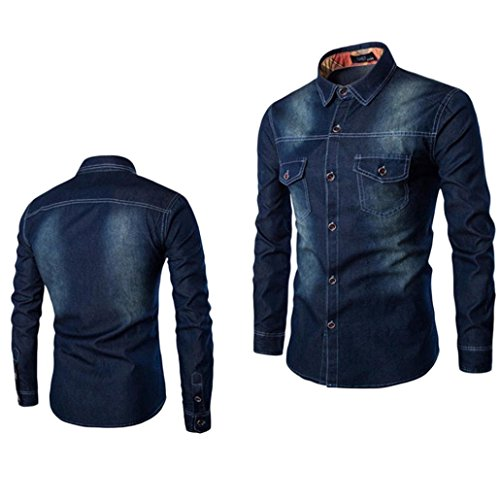 MRULIC Mens Herbst Pop-Elemente Denim Top Slim Fit Jeans Langarm-Shirt(Dunkelblau,EU-52/CN-4XL) -