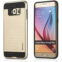 Samsung Galaxy S6 Edge Plus Funda - iHarbort® Samsung Galaxy S6 Edge Plus Funda doble capa de protección con cepillado acabado plástico amortiguación Combo armadura defensor caso cubierta protectora, oro