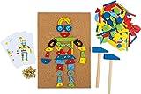 Hämmerchen Spiel aus Kork und Holz, inkl. Zubehör (2 Hammer, 100 Nägel und 126 bunte Holzteile), für kreativen Spaß ab 6 Jahre