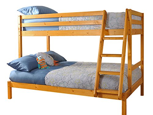 Comfy Living 3ft and 4ft Triple Wooden Pine Bunk Bed in Caramel with 2 Basic Budget Mattresses - Durleigh