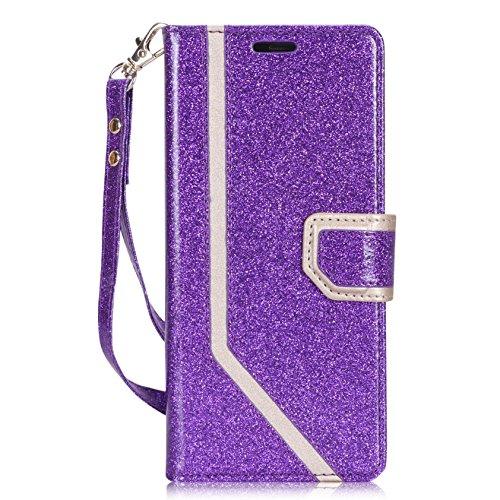 �lle Flip-Ständer Hülle mit Karten-Slots & Wristlet,Samsung Note 9 Brieftasche Etui,Klappständer Schutzhülle für Samsung Galaxy Note 9(6.4'')(2018 Loslassen)-Bling Violett ()