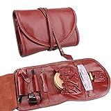 LUCKFY Bag Pipe - Caso Holder Viaggi Tabacco da Pipa Sacchetto del Cuoio Genuino Fissare String Wrap Design for 2 Tubi Accessori Giorno del Ringraziamento o Regali di Compleanno,Lycheeredbrown