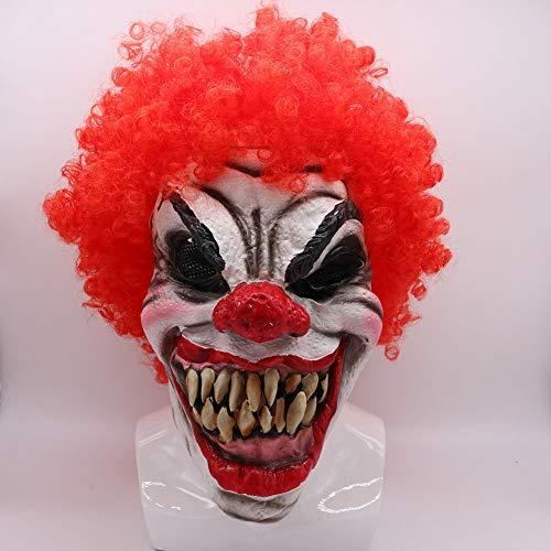 S+S Scary Halloween Maske, Horror Scary Grimple Clown Rote Haarmaske Kopfbedeckung Halloween Lustige Bar Dance Party Kostüm Kopfmaske Latex Requisiten (Kostüme Halloween Besten Am Blutig,)