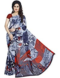Anand Sarees Women's Faux Georgette Printed Black Color With Blouse Piece ( 1370 )
