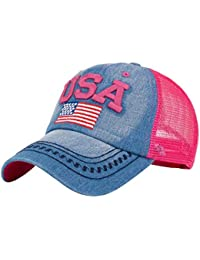 Hechgobuy Bandera Americana Gorra de béisbol Ajustable Sombrero de Malla al Aire Libre Sombreros Deportivos (