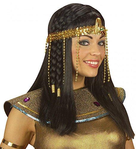 shoperama Ägyptischer Kopfschmuck mit Schlange und Perlen Gold Ägypterin Haarschmuck Stirnband Krone Pharaonin (ägyptischer Gold Kopfschmuck)
