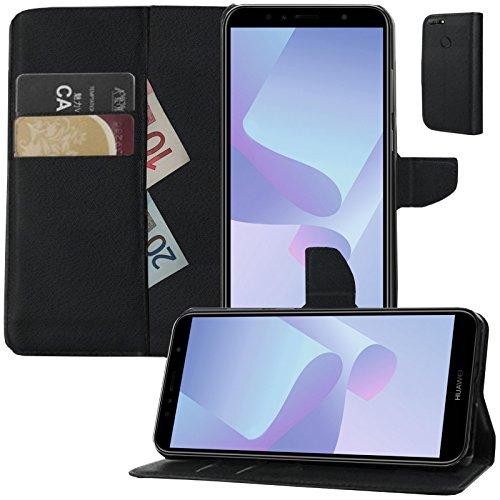 MOELECTRONIX Buch Klapp Tasche Schutz Hülle Wallet Flip Case Etui für Huawei Y7 2018 Dual SIM LDN-L21