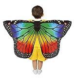 Dance Fairy Schmetterling Flügel Umhang Weiche Zum Tanzen Kostüm Zubehör Kinder und Kleinkind, Regenbogen 70cm-110cm