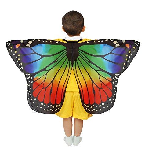 Dance Fairy Schmetterling Flügel Umhang Weiche zum Tanzen Kostüm Zubehör Kinder und Kleinkind, Regenbogen 70cm-110cm (Tanzen Kostüm Kinder)