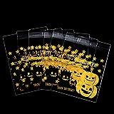 Xuxuou Halloween Tasche Geschenkbeutel Süßigkeiten Tüten Keksbeutel Plätzchen Beutel Verpackung Tüte Gebäcktüten Zellglastüten 100 Stück