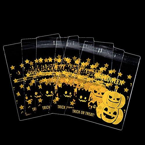 lbstklebende OPP Tütchen Halloweens Niedliches Kürbis-Geistmuster Plastiktüten Geschenk Verpackung Tasche für Süßigkeiten Kekse (Style C) ()