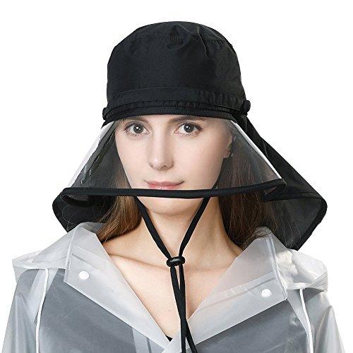 SiggiHat Rollbarer Regenhut Damen Wasserdicht Accessoires mit Kinnband Schwarz SIGGI (Regen Hut)