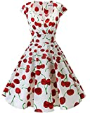 bbonlinedress 1950er Vintage Retro Cocktailkleid Rockabilly V-Ausschnitt Faltenrock White Red Cherry XL