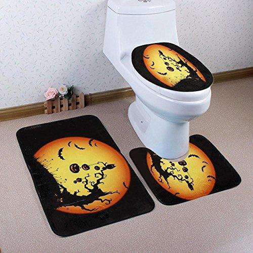 tück Halloween Badezimmer Matten Set, Ständer Teppich + Deckel WC-Deckelbezug + Badteppich, M, 50x80cm (Halloween-wc-sitz-deckel)