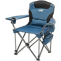 Camping-Stuhl XXL Qeedo Johnny Jumbo bis 250 kg, Klappstuhl mit Getränkehalter, Festivalstuhl - blau