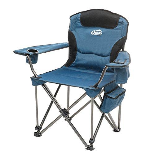 Qeedo Camping-Stuhl XXL Johnny Jumbo bis 250 kg, Klappstuhl mit Getränkehalter, Festivalstuhl - blau - Extra Breiter Falt -