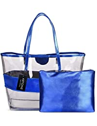 Artone Water Resistance Clear Tote Stripe Beach Bag Shoulder Handbag With Bikini Swimming Suit Set Of 2 Blue
