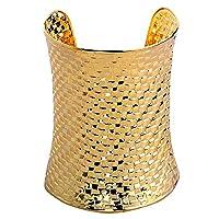 YAZILIND Gold Plated Wide Hammered Cuff Bracelet Retro Women Jewellery