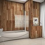 Duschabtrennung Badewannenaufsatz 120x140cm Rechts Duschwand Badewanne 6mm Nanobeschichtung Satiniert Sicherheitsglas mit Handtuchhalter