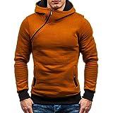 NPRADLA 2018 Pullover Herren Slim Fit Mit Kapuze Reißverschluss Herbst Winter Kapuzenjacke Bluse(2XL/44,Gelb)