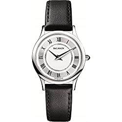Balmain Women's 29mm Black Leather Band Steel Case Quartz Silver-Tone Dial Analog Watch B2991.32.26