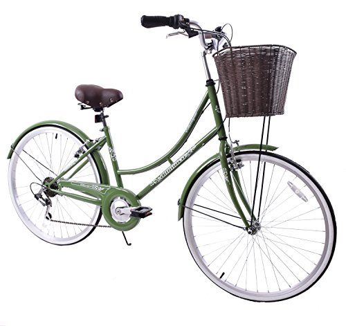 Ammaco Classique 26″ Wheel Heritage Traditional Classic Ladies Lifestyle Bike & Basket 19″ Frame Dutch Style Olive