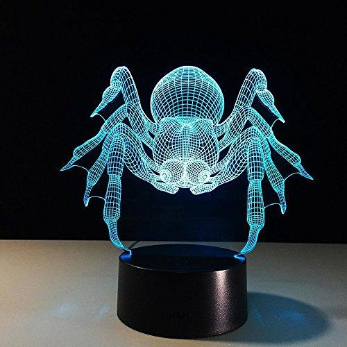 Lozse Illusion Lampe Spider 3D 7 Laterne Remote Touch LED kleine leichte Stereo-nachtlicht - Stereo-spider Auto