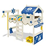 WICKEY Hochbett CrAzY Jelly Kinderbett mit Dach Spielbett 90x200 für Kinder mit Lattenboden und Hebezugsystem, blau + weiße Farbe