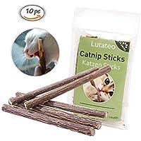 Lutateo Katzenminze Katzenspielzeug, Katze Dental Chew Sticks, Katze Spielzeug 10 Sticks von Pack, Unterstützen Eine Natürliche Zahnpflege und Helfen Bei Mundgeruch und Zahnstein